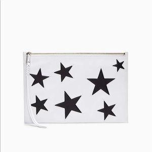 Rebecca Minkoff Large White/Black Star Clutch Bag